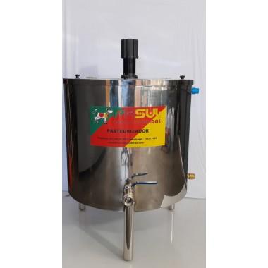 Pasteurizador e processador com tampa 300 lt para leite e queijos modelo circular