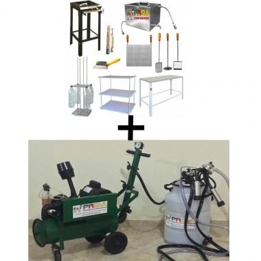 Kit com Máquina de Ordenha para ordenhar 1 vaca por vez + Queijaria para 100 litros dia